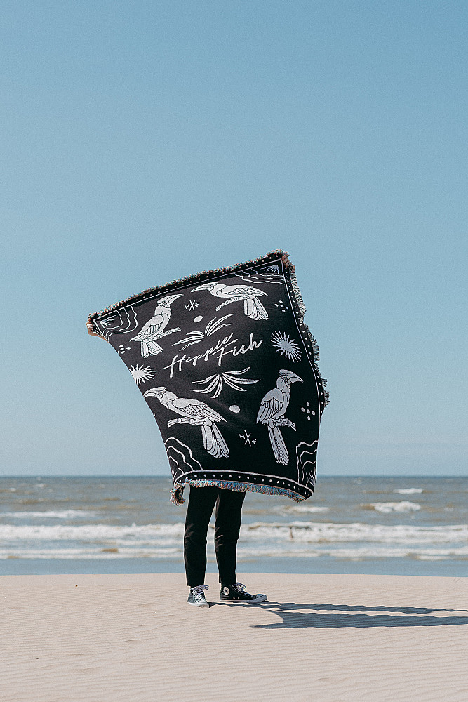 Hippie Fish Throw Blanket